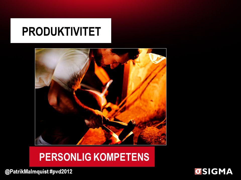 PRODUKTIVITET @PatrikMalmquist #pvd2012 PERSONLIG KOMPETENS