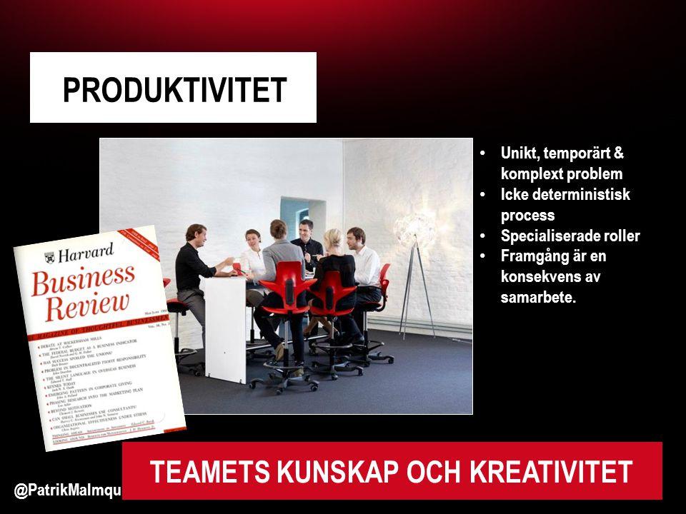 @PatrikMalmquist #pvd2012 PRODUKTIVITET TEAMETS KUNSKAP OCH KREATIVITET • Unikt, temporärt & komplext problem • Icke deterministisk process • Specialiserade roller • Framgång är en konsekvens av samarbete.