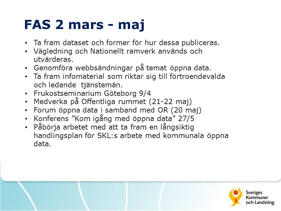 FAS 2 mars - maj • Ta fram dataset och former för hur dessa publiceras. • Vägledning och Nationellt ramverk används och utvärderas. • Genomföra webbsä