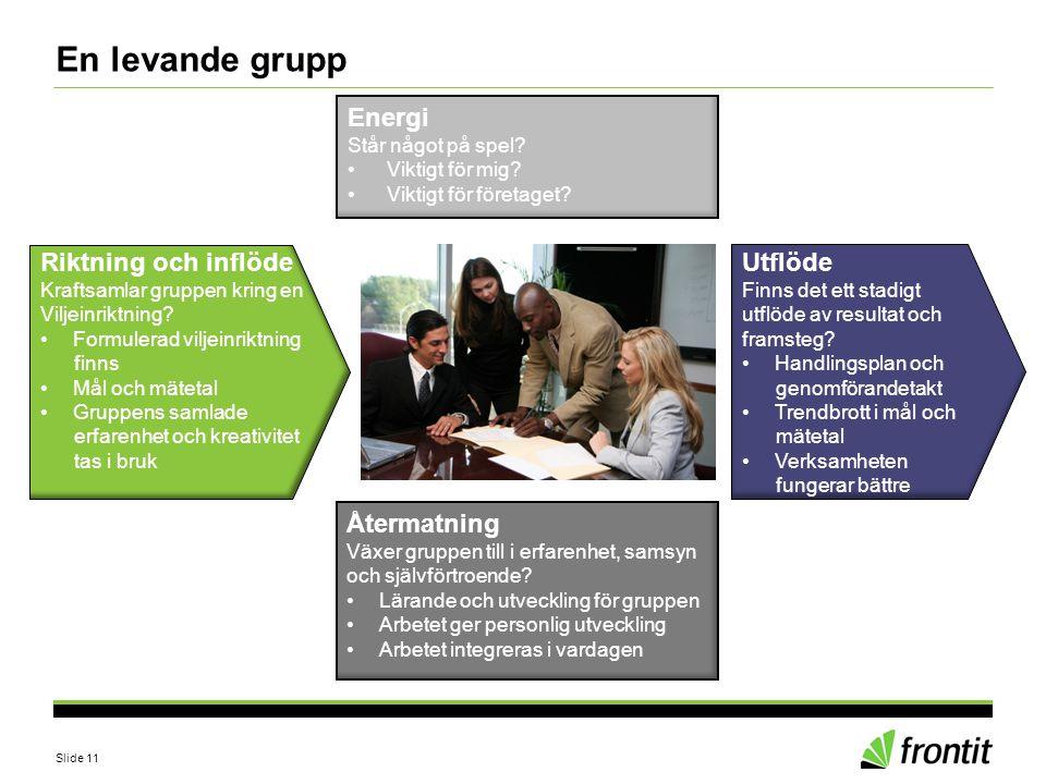 Slide 11 En levande grupp Riktning och inflöde Kraftsamlar gruppen kring en Viljeinriktning? •Formulerad viljeinriktning finns •Mål och mätetal •Grupp