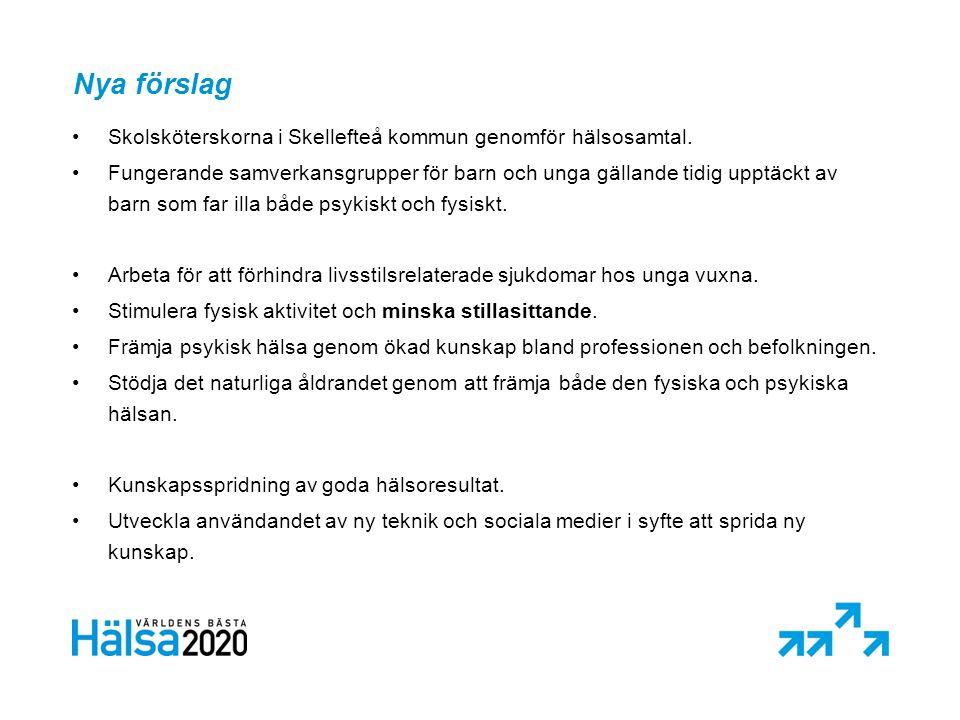 Nya förslag •Skolsköterskorna i Skellefteå kommun genomför hälsosamtal.