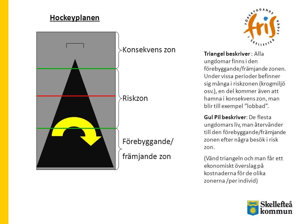 Hockeyplanen Förebyggande/ främjande zon Riskzon Konsekvens zon Triangel beskriver : Alla ungdomar finns i den förebyggande/främjande zonen.
