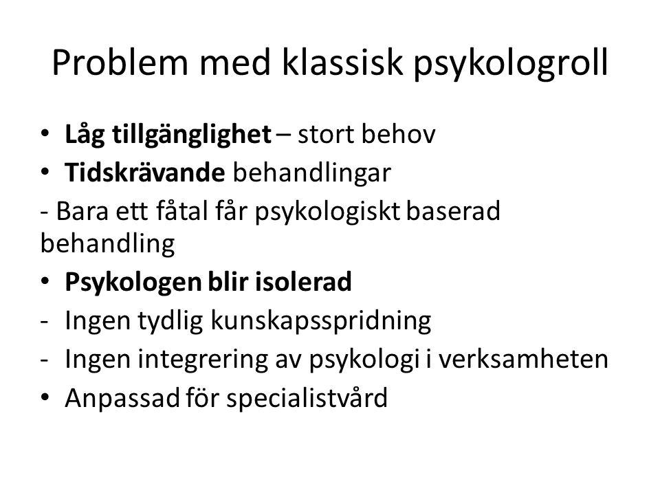 Problem med klassisk psykologroll • Låg tillgänglighet – stort behov • Tidskrävande behandlingar - Bara ett fåtal får psykologiskt baserad behandling