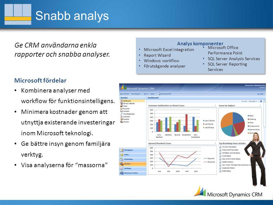 Snabb analys Ge CRM användarna enkla rapporter och snabba analyser.