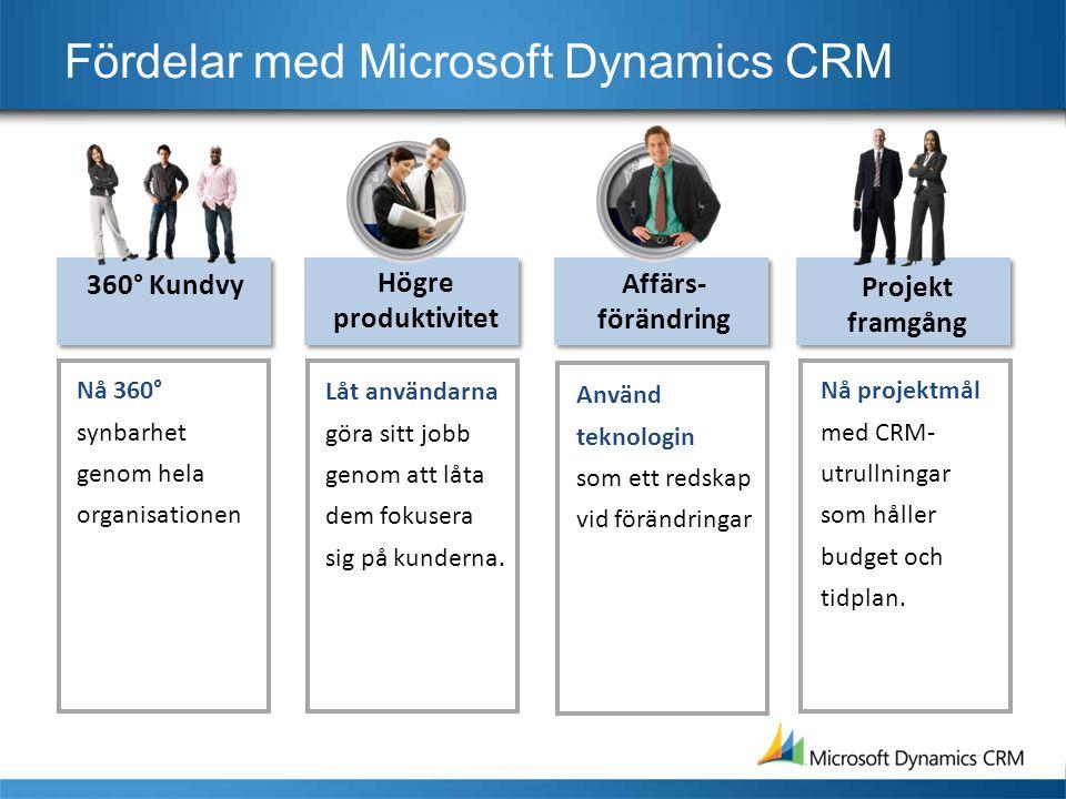 Fördelar med Microsoft Dynamics CRM Nå 360° synbarhet genom hela organisationen 360° Kundvy Låt användarna göra sitt jobb genom att låta dem fokusera sig på kunderna.