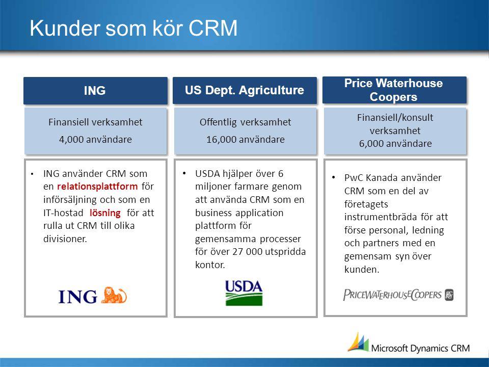 Kunder som kör CRM Offentlig verksamhet 16,000 användare • USDA hjälper över 6 miljoner farmare genom att använda CRM som en business application plattform för gemensamma processer för över 27 000 utspridda kontor.