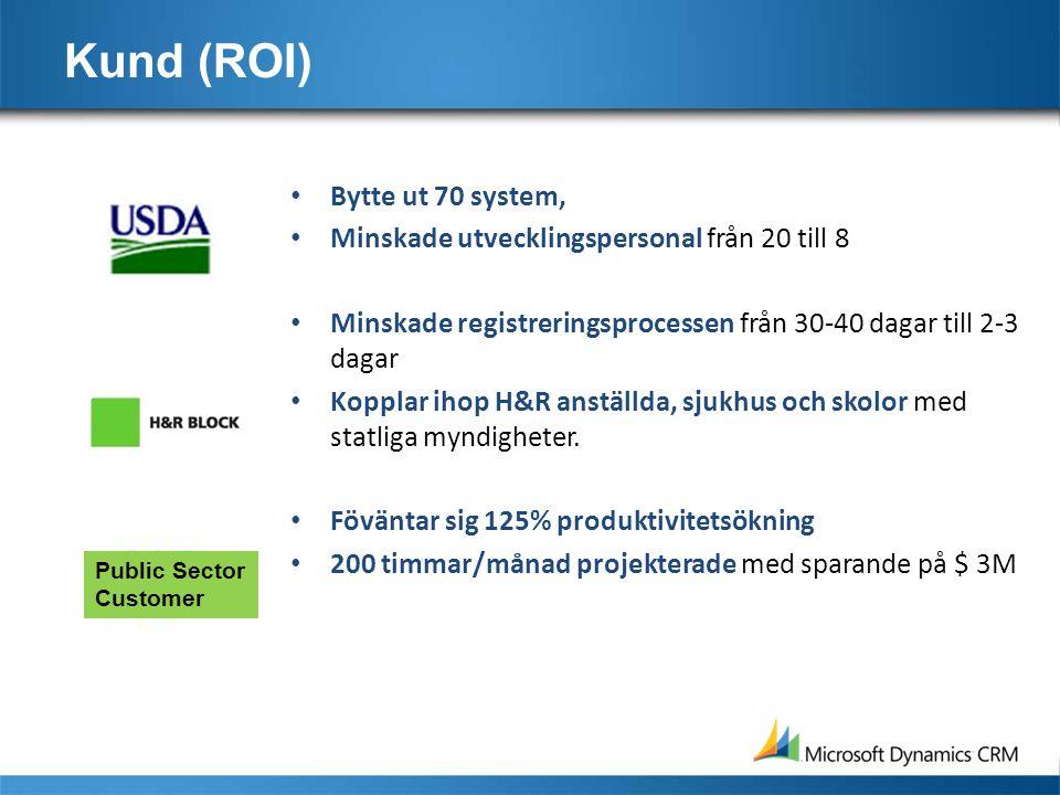 Kund (ROI) • Bytte ut 70 system, • Minskade utvecklingspersonal från 20 till 8 • Minskade registreringsprocessen från 30-40 dagar till 2-3 dagar • Kopplar ihop H&R anställda, sjukhus och skolor med statliga myndigheter.