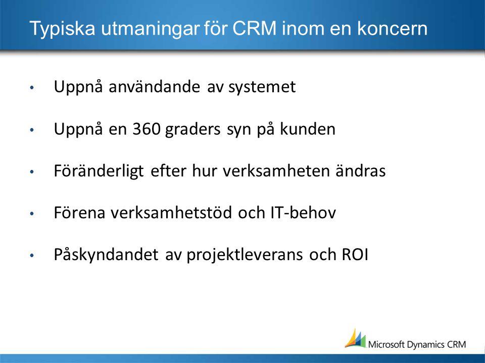 Typiska utmaningar för CRM inom en koncern • Uppnå användande av systemet • Uppnå en 360 graders syn på kunden • Föränderligt efter hur verksamheten ändras • Förena verksamhetstöd och IT-behov • Påskyndandet av projektleverans och ROI