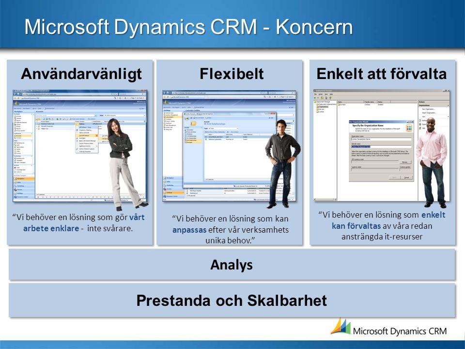 Analys Microsoft Dynamics CRM - Koncern Enkelt att förvaltaFlexibeltAnvändarvänligt Vi behöver en lösning som enkelt kan förvaltas av våra redan ansträngda it-resurser Vi behöver en lösning som kan anpassas efter vår verksamhets unika behov. Vi behöver en lösning som gör vårt arbete enklare - inte svårare.