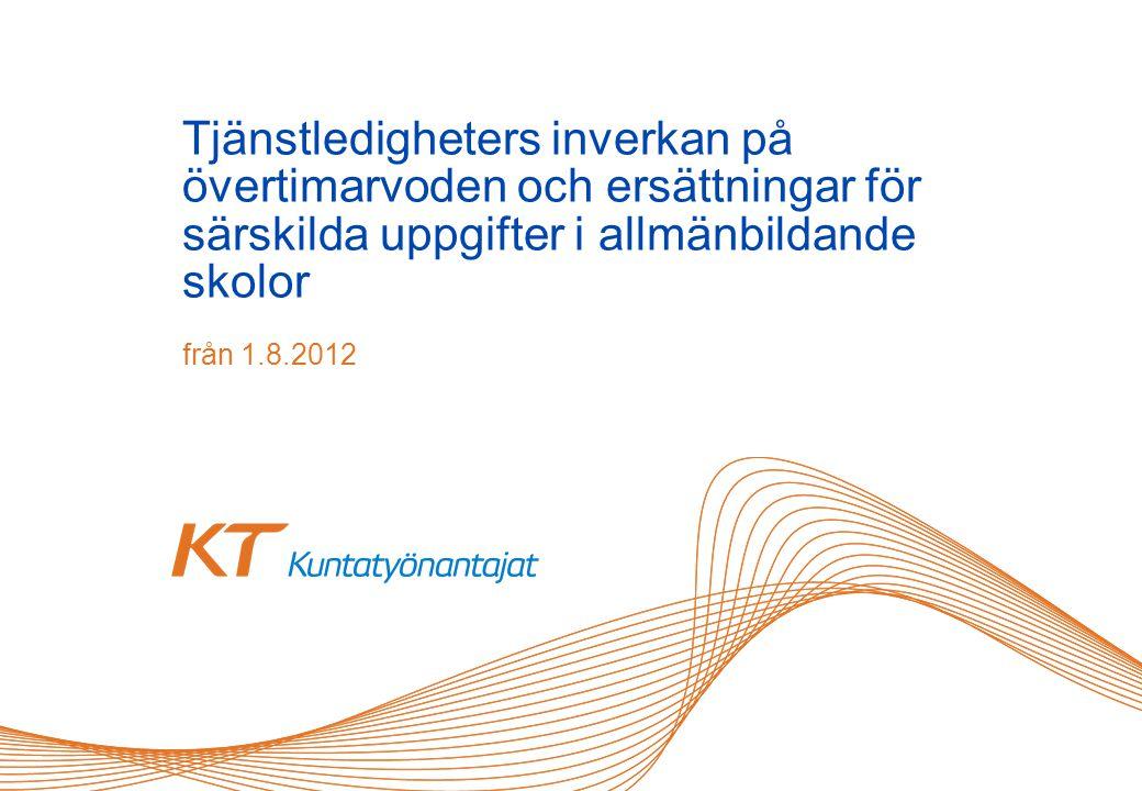 Tjänstledigheters inverkan på övertimarvoden och ersättningar för särskilda uppgifter i allmänbildande skolor från 1.8.2012