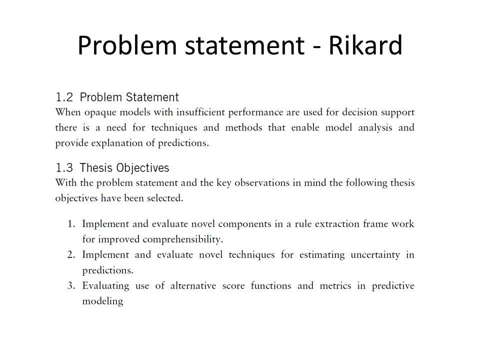 Problem statement - Rikard