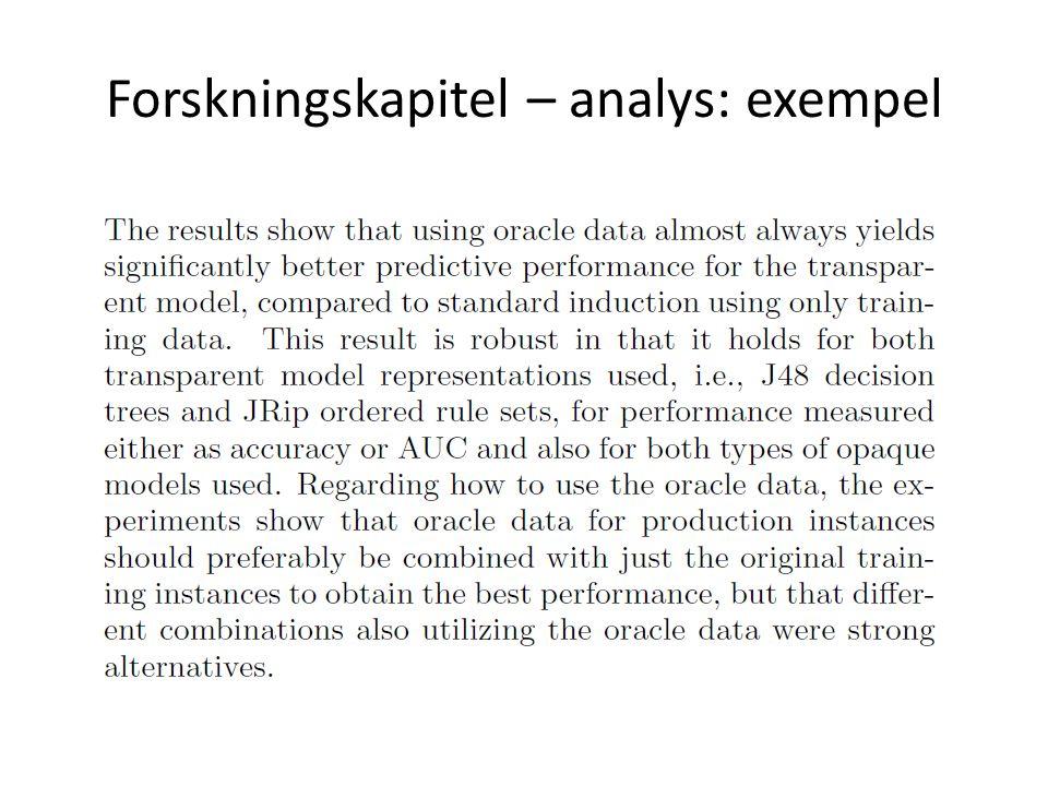 Forskningskapitel – analys: exempel