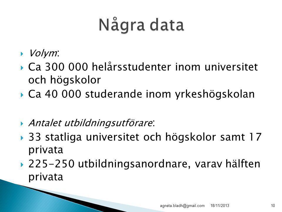  Volym :  Ca 300 000 helårsstudenter inom universitet och högskolor  Ca 40 000 studerande inom yrkeshögskolan  Antalet utbildningsutförare :  33