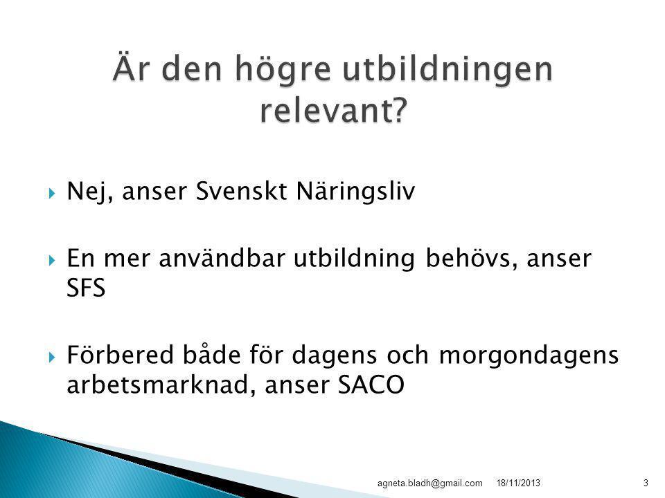  Nej, anser Svenskt Näringsliv  En mer användbar utbildning behövs, anser SFS  Förbered både för dagens och morgondagens arbetsmarknad, anser SACO