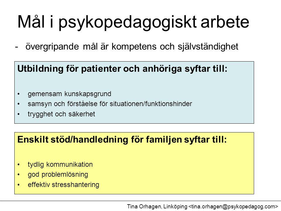 Mål i psykopedagogiskt arbete -övergripande mål är kompetens och självständighet Utbildning för patienter och anhöriga syftar till: •gemensam kunskaps