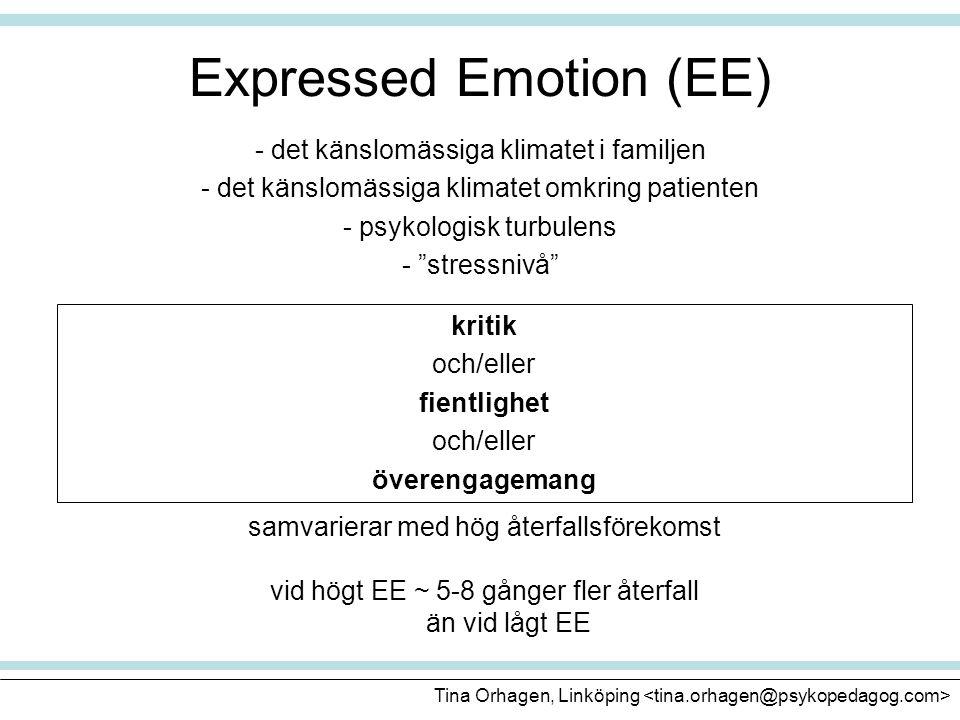"""Expressed Emotion (EE) - det känslomässiga klimatet i familjen - det känslomässiga klimatet omkring patienten - psykologisk turbulens - """"stressnivå"""" k"""