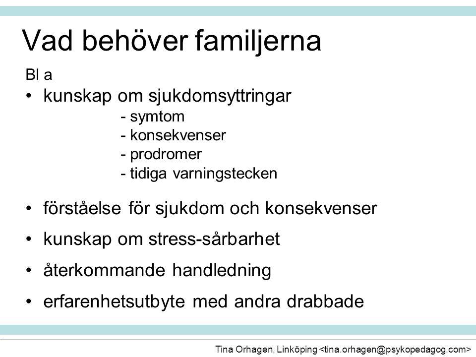 Vad behöver familjerna Bl a •kunskap om sjukdomsyttringar - symtom - konsekvenser - prodromer - tidiga varningstecken •förståelse för sjukdom och kons
