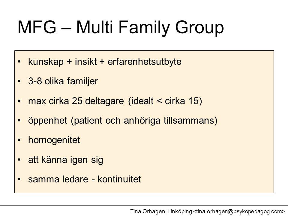 MFG – Multi Family Group •kunskap + insikt + erfarenhetsutbyte •3-8 olika familjer •max cirka 25 deltagare (idealt < cirka 15) •öppenhet (patient och