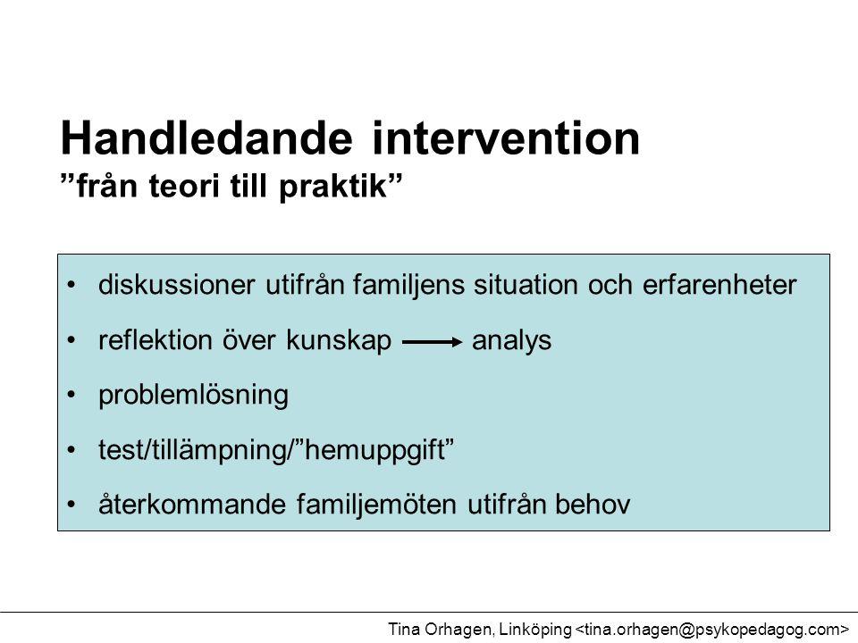 """Handledande intervention """"från teori till praktik"""" •diskussioner utifrån familjens situation och erfarenheter •reflektion över kunskap analys •problem"""