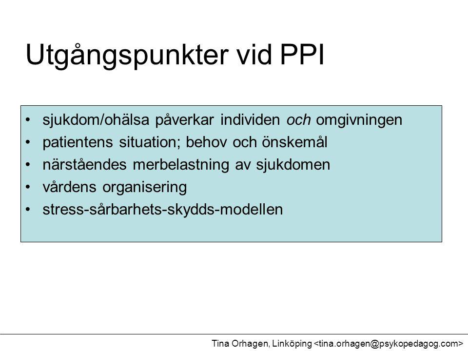 Utgångspunkter vid PPI •sjukdom/ohälsa påverkar individen och omgivningen •patientens situation; behov och önskemål •närståendes merbelastning av sjuk