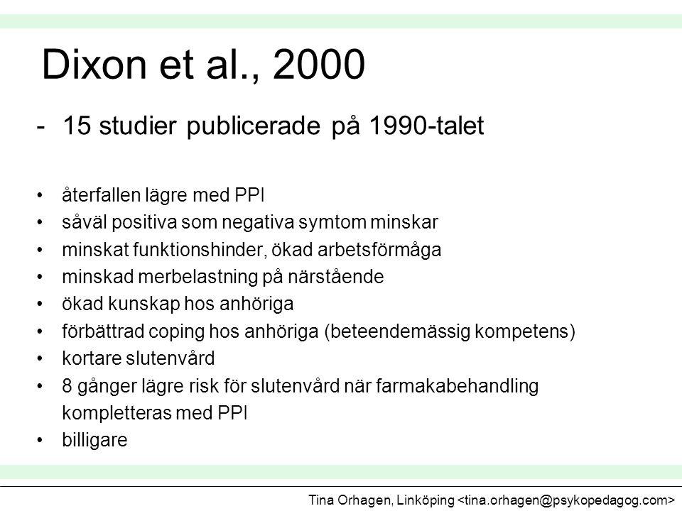 Dixon et al., 2000 -15 studier publicerade på 1990-talet •återfallen lägre med PPI •såväl positiva som negativa symtom minskar •minskat funktionshinde