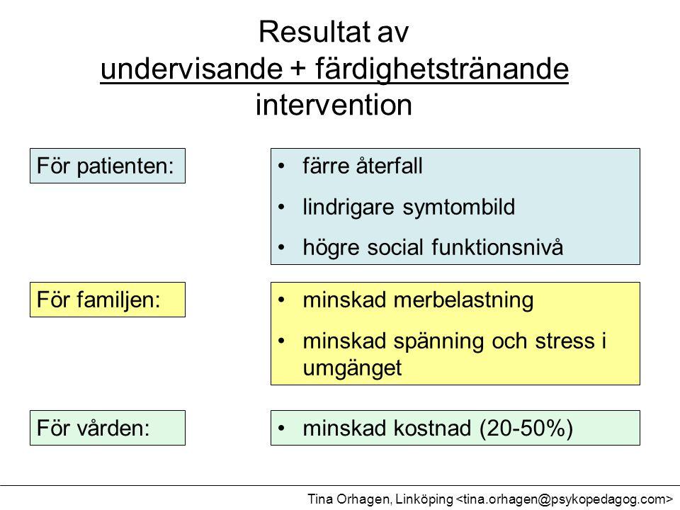Resultat av undervisande + färdighetstränande intervention •färre återfall •lindrigare symtombild •högre social funktionsnivå •minskad merbelastning •