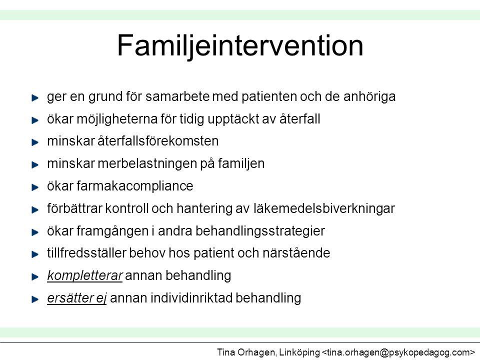 Familjeintervention ger en grund för samarbete med patienten och de anhöriga ökar möjligheterna för tidig upptäckt av återfall minskar återfallsföreko