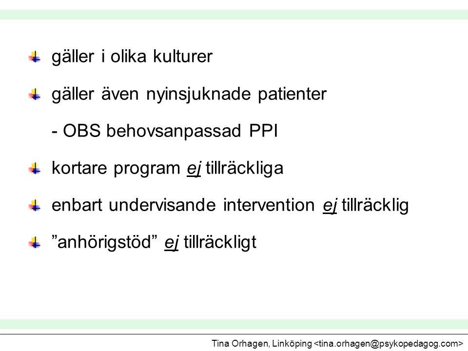 gäller i olika kulturer gäller även nyinsjuknade patienter - OBS behovsanpassad PPI kortare program ej tillräckliga enbart undervisande intervention e