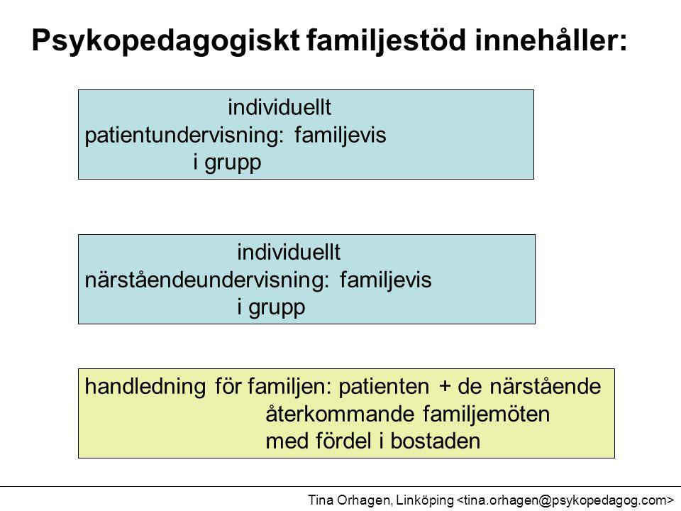 Psykopedagogiskt familjestöd innehåller: individuellt patientundervisning: familjevis i grupp individuellt närståendeundervisning: familjevis i grupp