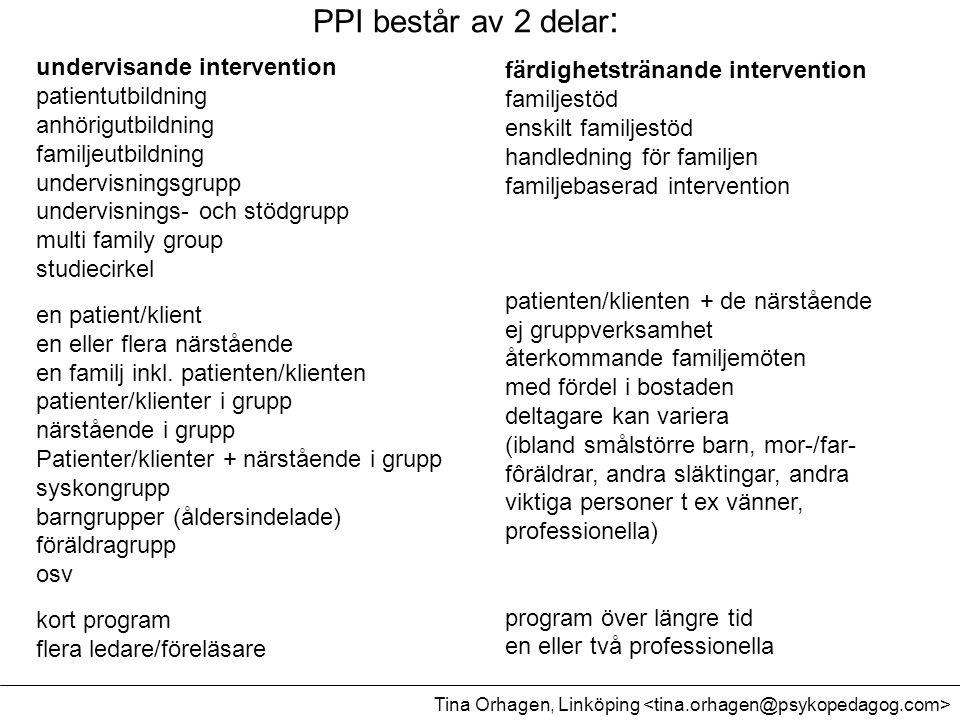 PPI består av 2 delar : undervisande intervention patientutbildning anhörigutbildning familjeutbildning undervisningsgrupp undervisnings- och stödgrup