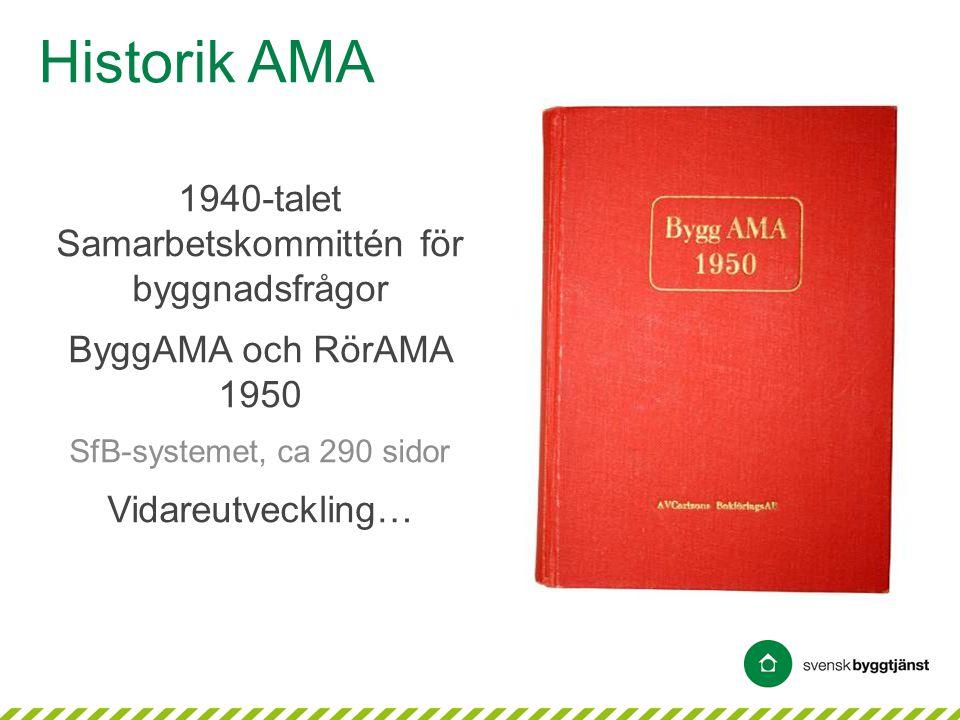 • AMA = Allmän material- och arbetsbeskrivning • Tradition sedan 1950 • Referensverk • Accepterade krav • Beprövad teknik • Struktur enligt BSAB 96 − Byggnadsverk − Byggdelar − Produktionsresultat • Svensk Byggtjänst huvudman sedan 1976 AMA och anslutande skrifter