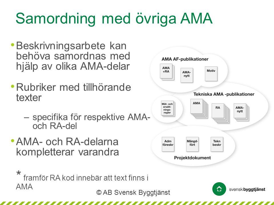 © AB Svensk Byggtjänst Samordning med övriga AMA • Beskrivningsarbete kan behöva samordnas med hjälp av olika AMA-delar • Rubriker med tillhörande tex
