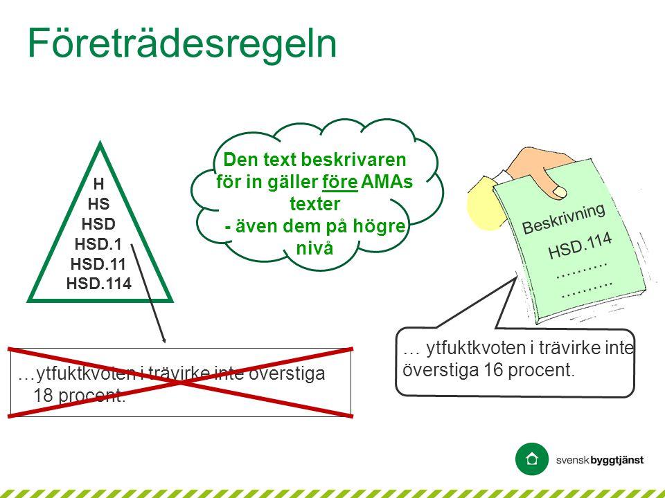 Företrädesregeln Den text beskrivaren för in gäller före AMAs texter - även dem på högre nivå …ytfuktkvoten i trävirke inte överstiga 18 procent. HSD.