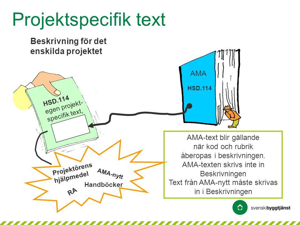 Projektspecifik text Beskrivning för det enskilda projektet HSD.114 egen projekt- specifik text, RA AMA-nytt Projektörens hjälpmedel Handböcker HSD.11