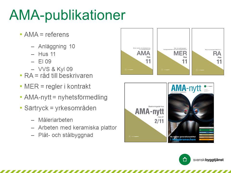 AMA-publikationer • AMA = referens –Anläggning 10 –Hus 11 –El 09 –VVS & Kyl 09 • RA = råd till beskrivaren • MER = regler i kontrakt • AMA-nytt = nyhe