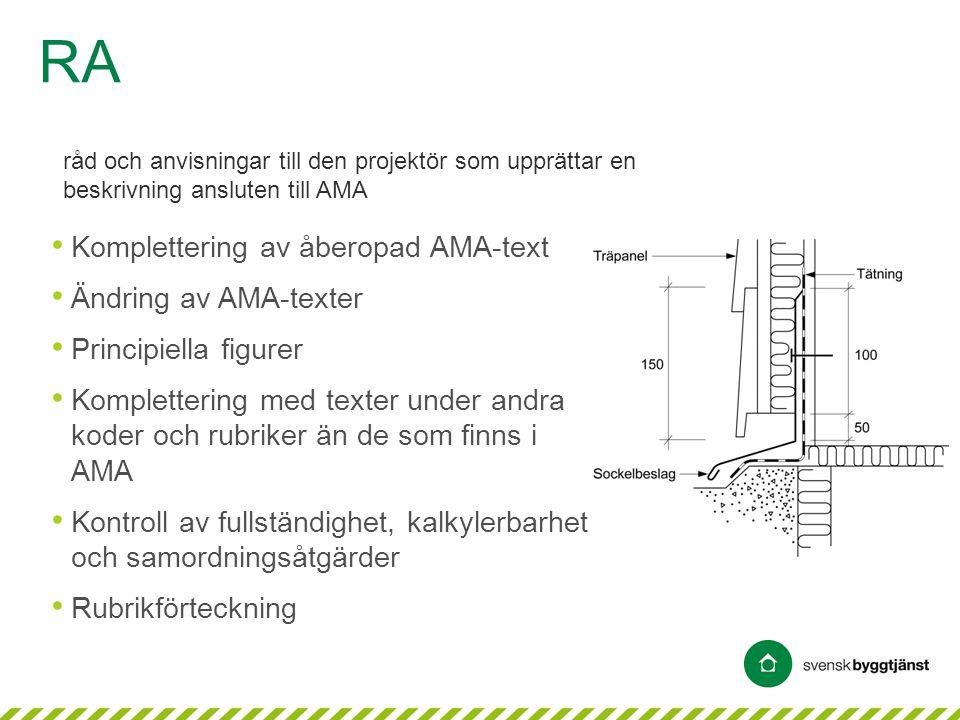 • Komplettering av åberopad AMA-text • Ändring av AMA-texter • Principiella figurer • Komplettering med texter under andra koder och rubriker än de so
