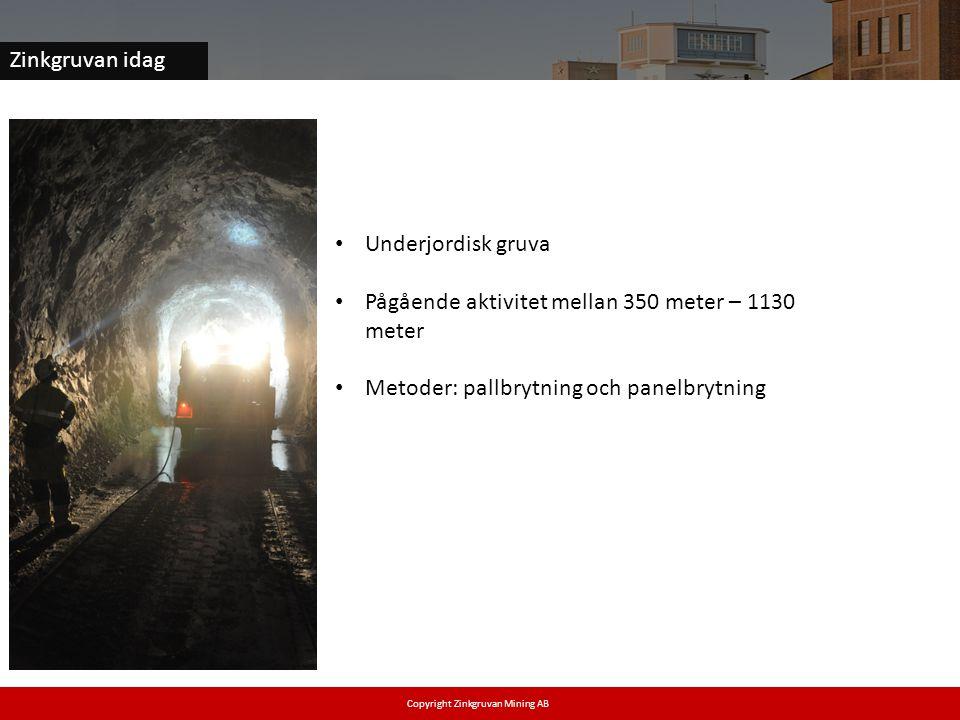 Zinkgruvan idag • Underjordisk gruva • Pågående aktivitet mellan 350 meter – 1130 meter • Metoder: pallbrytning och panelbrytning Copyright Zinkgruvan Mining AB