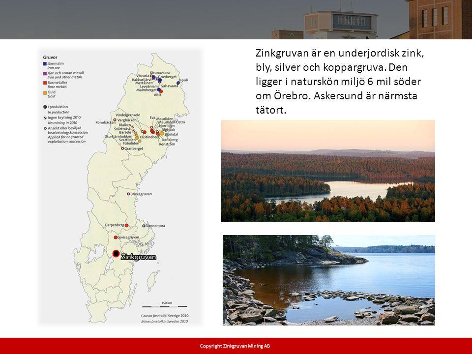 Zinkgruvan är en underjordisk zink, bly, silver och koppargruva. Den ligger i naturskön miljö 6 mil söder om Örebro. Askersund är närmsta tätort. Copy