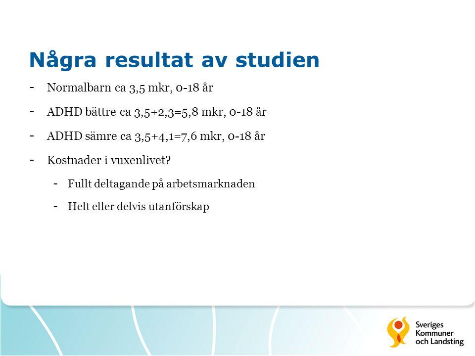 Några resultat av studien - Normalbarn ca 3,5 mkr, 0-18 år - ADHD bättre ca 3,5+2,3=5,8 mkr, 0-18 år - ADHD sämre ca 3,5+4,1=7,6 mkr, 0-18 år - Kostnader i vuxenlivet.