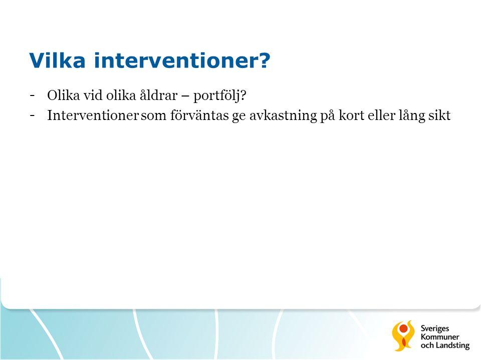 Vilka interventioner.- Olika vid olika åldrar – portfölj.