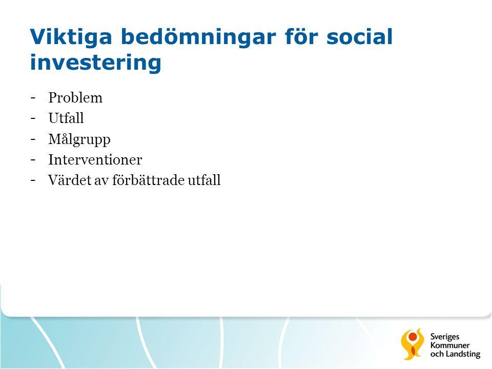 Viktiga bedömningar för social investering - Problem - Utfall - Målgrupp - Interventioner - Värdet av förbättrade utfall