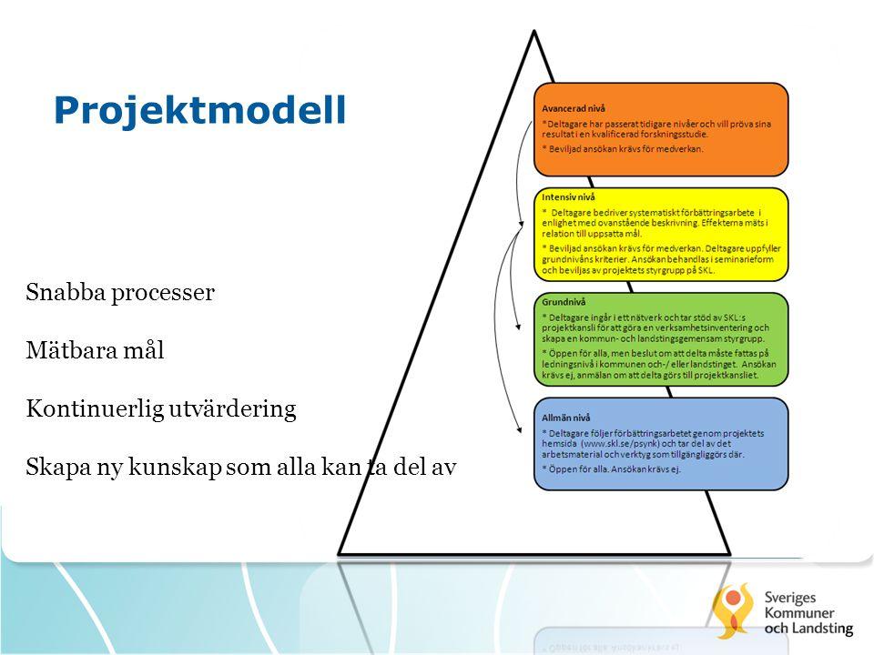 Projektmodell Snabba processer Mätbara mål Kontinuerlig utvärdering Skapa ny kunskap som alla kan ta del av