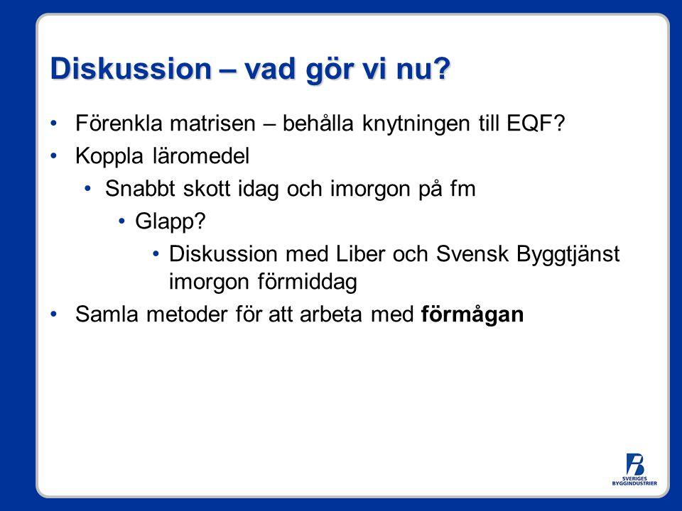 Diskussion – vad gör vi nu? •Förenkla matrisen – behålla knytningen till EQF? •Koppla läromedel •Snabbt skott idag och imorgon på fm •Glapp? •Diskussi