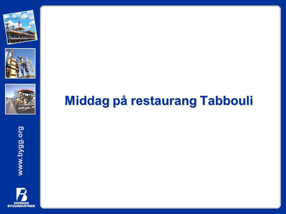 www.bygg.org Middag på restaurang Tabbouli