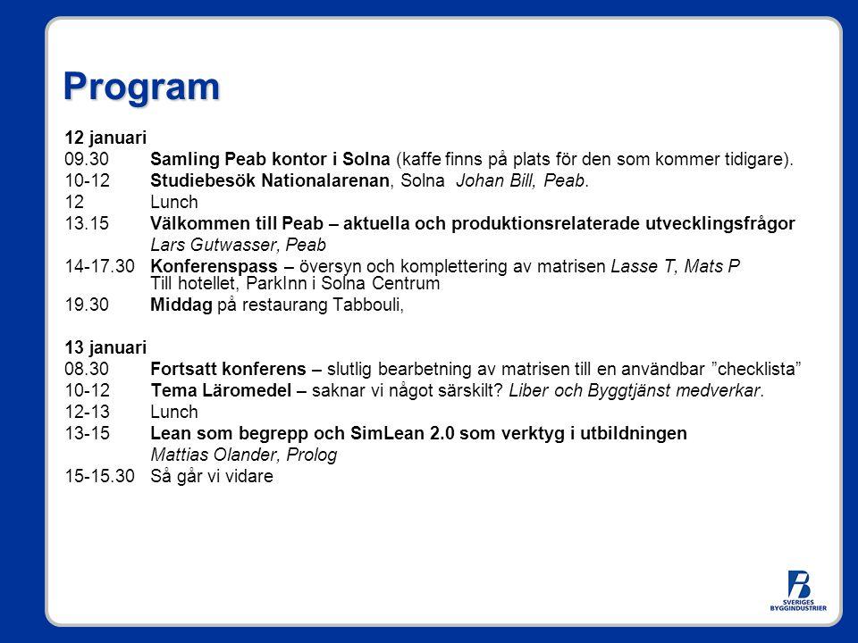 Program 12 januari 09.30Samling Peab kontor i Solna (kaffe finns på plats för den som kommer tidigare). 10-12Studiebesök Nationalarenan, Solna Johan B