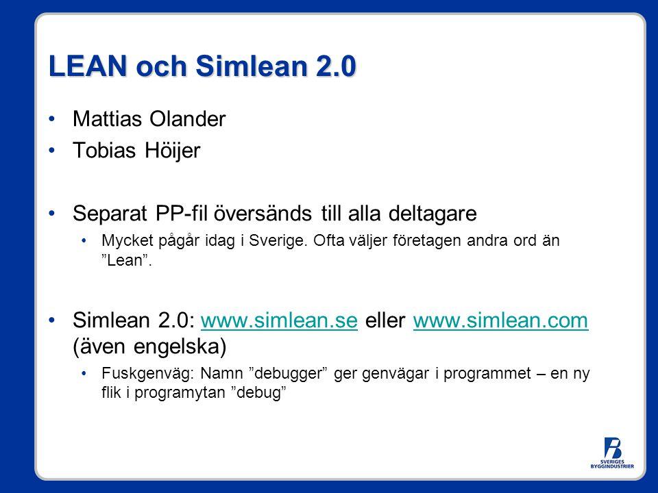 LEAN och Simlean 2.0 •Mattias Olander •Tobias Höijer •Separat PP-fil översänds till alla deltagare •Mycket pågår idag i Sverige. Ofta väljer företagen