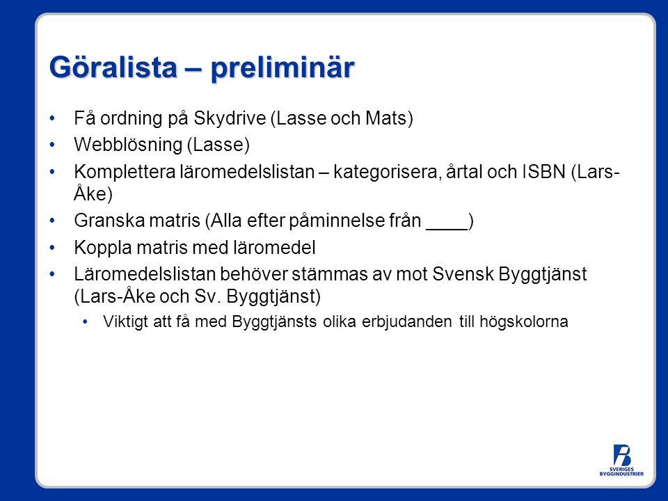Göralista – preliminär •Få ordning på Skydrive (Lasse och Mats) •Webblösning (Lasse) •Komplettera läromedelslistan – kategorisera, årtal och ISBN (Lar