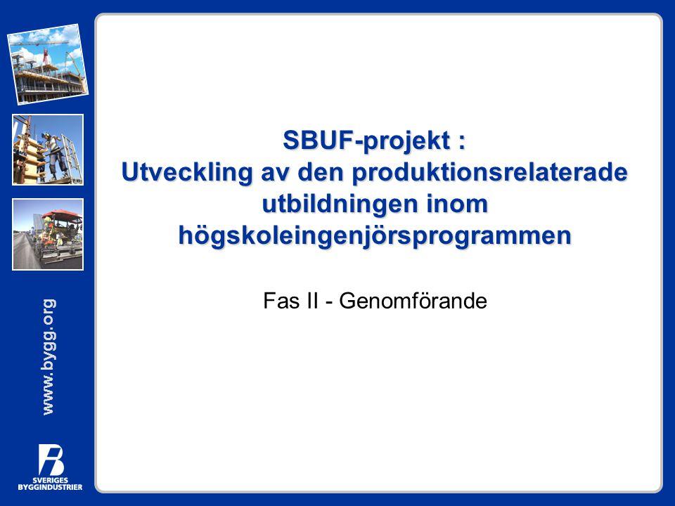 www.bygg.org SBUF-projekt : Utveckling av den produktionsrelaterade utbildningen inom högskoleingenjörsprogrammen Fas II - Genomförande
