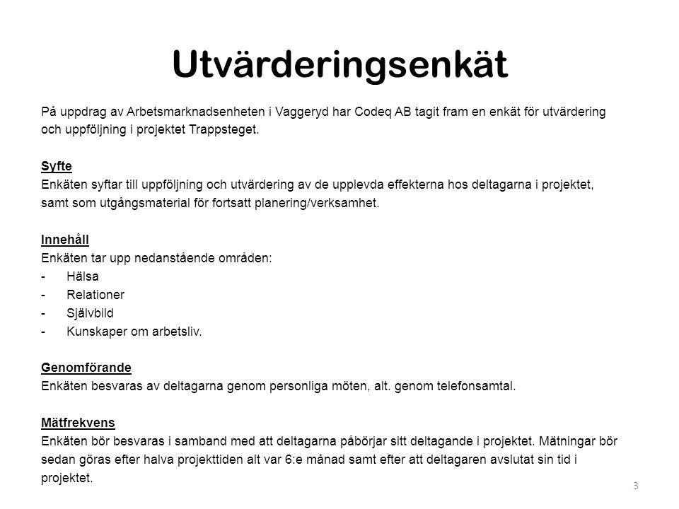 Genomförande av enkät juni 2010 •Totalt 87%27 av 31 pers •Vaggeryd 100%24 av 24 pers •Jönköping 43 %3 av 7 pers Genomförande och redovisningen av enkäten gäller tre mätpunkter från projektstart 2008 till juni 2010.