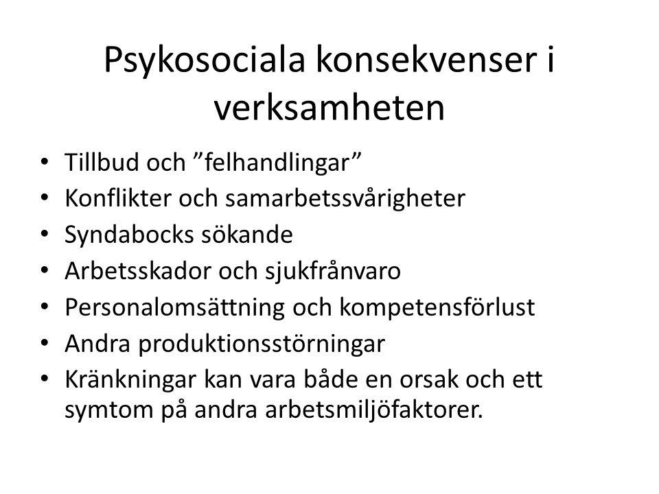 """Psykosociala konsekvenser i verksamheten • Tillbud och """"felhandlingar"""" • Konflikter och samarbetssvårigheter • Syndabocks sökande • Arbetsskador och s"""